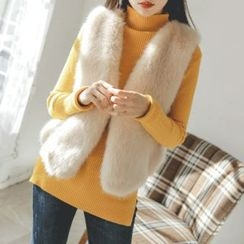 JUSTONE - Hook-and-Eye Faux-Fur Vest