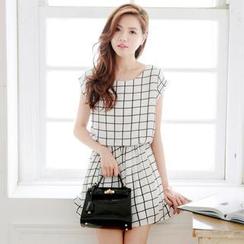Tokyo Fashion - Cap-Sleeve Gathered-Waist Check Dress