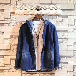 Sundipy - Pocket-Back Hooded Denim Jacket
