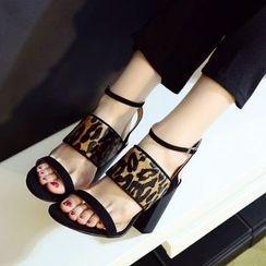 JY Shoes - High Heel Leopard Sandals