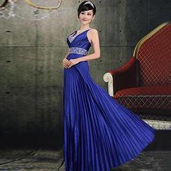 Bridal Workshop - Sleeveless Jeweled Pleated Sheath Evening Gown