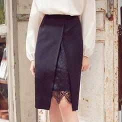 Tokyo Fashion - Lace-Panel Pencil Skirt