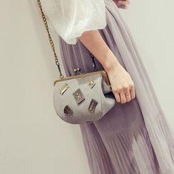 Secret Garden - Faux Leather Applique Shoulder Bag