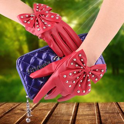 Fow Fow - Studded Bow Faux Leather Gloves