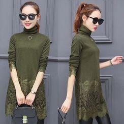 lilygirl - 加絨打底衫女 中長款高領2016冬裝新款韓版修身顯瘦蕾絲網紗