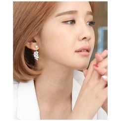 Miss21 Korea - Rhinestone-Cluster Drop Earrings