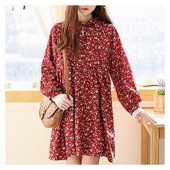 Sechuna - Tie-Neck Floral Pattern Empire Dress