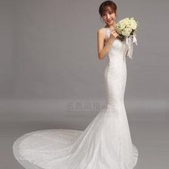 Luxury Style - Sleeveless Lace Mermaid Wedding Dress with Train