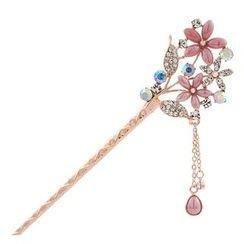Missy Missy - Rhinestone Flower Dangling Hair Stick