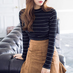 chuu - Mock-Neck Striped Ribbed Top