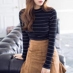 chuu - 小高领条纹针织上衣
