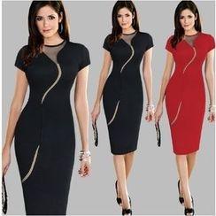Saranghae - Mesh Panel Short-Sleeve Sheath Dress