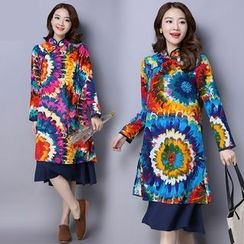 Diosa - Mandarin Collar Tie Dyed Long Sleeve Dress
