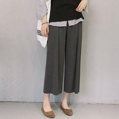 Cloud Nine - Cropped Knit Wide Leg Pants