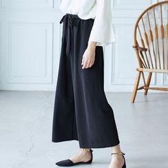 BAIMOMO - 腰结带宽腿裤