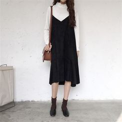 SUYISODA - V-Neck Midi Pinafore Dress
