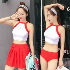 Ayeka - Set: Color Block Tankini + Skirt