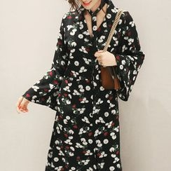 NANING9 - Bell-Sleeve Long Shirtdress with Sash
