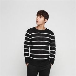 BYMONO - Round-Neck Stripe Knit Sweater