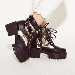 Mancienne - Buckled Paneled Lace-Up Ankle Boots