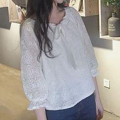 Cloud Nine - Bow Long-Sleeve Lace Blouse