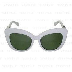 Glam-it! - Kitten Sunglasses (White Frame, Silver Logo, Green G15 Lens)