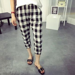 Tangi - Gingham Linen Cotton Harem Pants