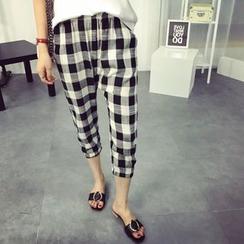 Tangi - Gingham Linen Cotton Harem Pants