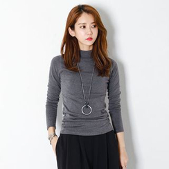 FASHION DIVA - Long Sleeve Mock-Neck Slim-Fit Top