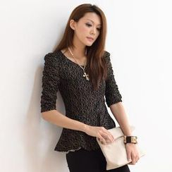 SO Central - Elbow-Sleeve Glittering Peplum Top