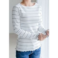 REDOPIN - Frilled-Trim Striped Top