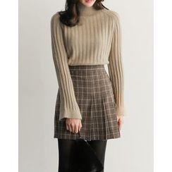 UPTOWNHOLIC - Pleated-Trim Checked Skirt