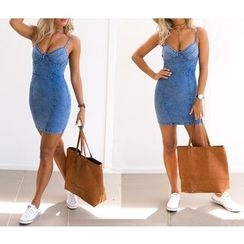Dream a Dream - Spaghetti Strap Washed Sheath Denim Dress