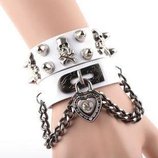 Trend Cool - Studded Skull Padlock Bracelet