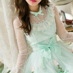 Candy Rain - Flower Applique Long Sleeve Dress