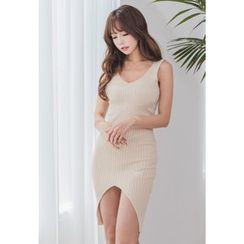 Dalkong - Sleeveless Cutout-Hem Bodycon Dress