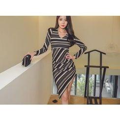 UUZONE - V-Neck Puff-Sleeve Dress