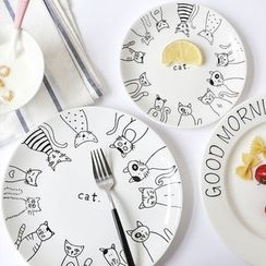 Timbera - Cat Print Ceramic Plate