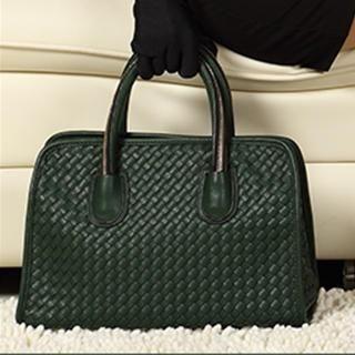 Exull - Faux-Leather Zip-Strap Woven Satchel