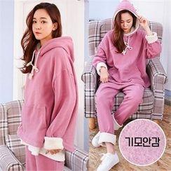 PINKSISLY - Set: Hooded Fleece Lined Top + Sweatpants