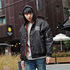 TOMONARI - Lettering Hooded Padded Flight Jacket