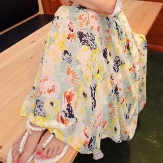 Sunny House - Floral Maxi Chiffon Skirt