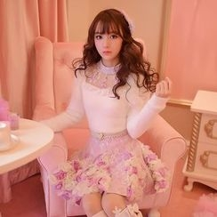 Candy Rain - Furry Sheer Panel Sweater