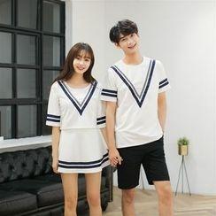 INUS - 情侣款短袖T恤/套装: 短袖T恤 + A字裙
