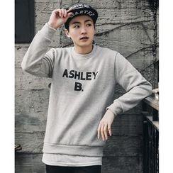 MEOSIDDA - Lettering Brushed-Fleece Lined Sweatshirt