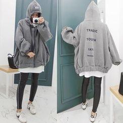 Seoul Fashion - Hooded Lettering Brushed-Fleece Lined Jacket