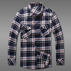 MR.PARK - Dual Front Pocket Plaid Button-Front Shirt