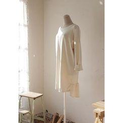 GOROKE - Ruffle-Hem Dip-Back T-Shirt Dress