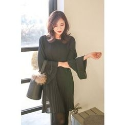 PPGIRL - Bell-Sleeve Pleated Dress