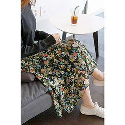 CHERRYKOKO - Floral Chiffon Ruffled Midi Skirt